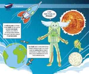Aleo en astronaute au milieu de fusée et de planètes