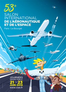 Affiche du Paris Air Show faisant figurer Aleo et des enfants au milieu de plusieurs avions